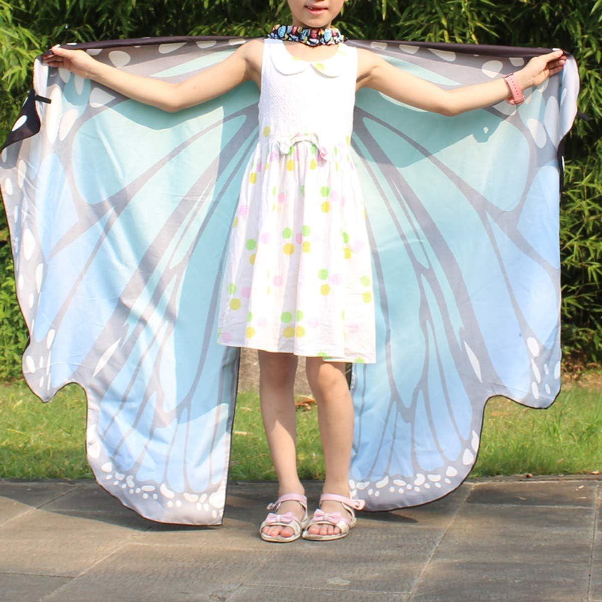 Farfalla Ali Scialle Donna Ragazza con Maschera Farfalle Fata Cosplay Costume di Carnevale Halloween Mantello Accessori da Costumi Travestimento per Natale Festa Arancio, Taglia unica