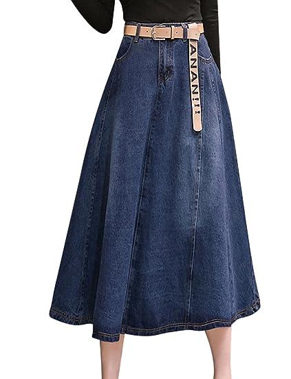817981fe65 Tanming Women s High Waist A-Line Long Midi Denim Jean Skirt (Dark Blue