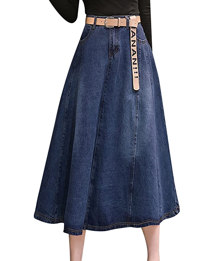 49cd33351e Tanming Women s High Waist A-Line Long Midi Denim Jean Skirt at Amazon  Women s Clothing store