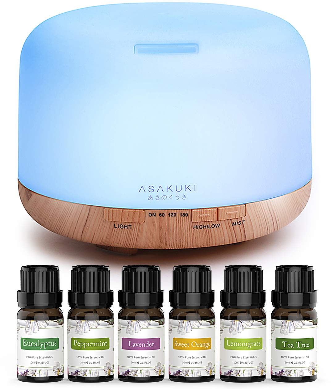 ASAKUKI Essential Oil Diffuser with Essential Oils Set, 500ml Aromatherapy Diffuser with Top 6 100% Pure Natural Essential Oils, 14 LED Colors and Auto Shut-Off