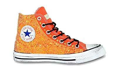 578ba4050e3f Customized All Star Van of Fire Converse Orange Glitter handmade in italy  by Mimanera (35