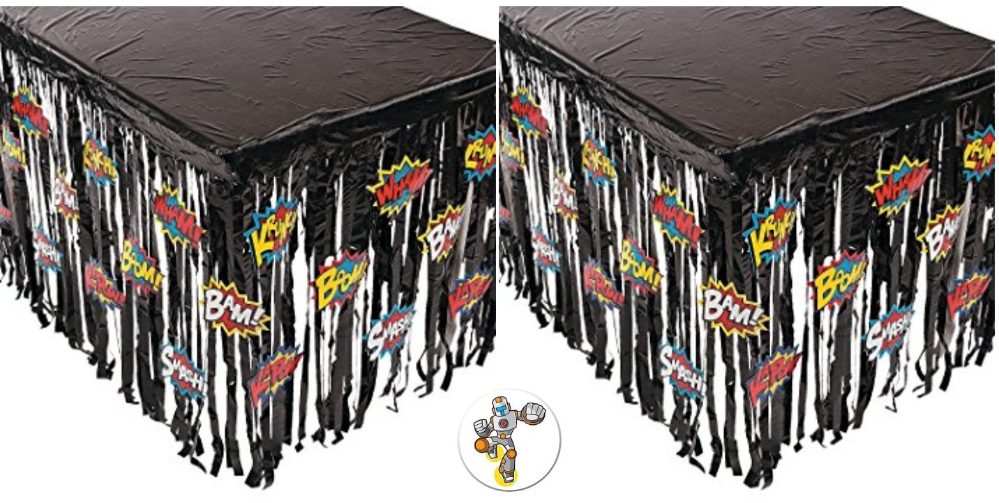 Mixed 2 Superhero Table Cover Skirts With Word Balloons and a Superhero Button