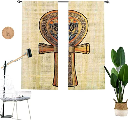 Amazon Com Egyptian 3d Printed Curtains Ancient Papyrus Presenting The Key Of Life Traditional Empire Egyptian Living Room Home Decor Blackout Shades For Bathroom 2 Panel Set W52 X L63 Each Panel Home Kitchen