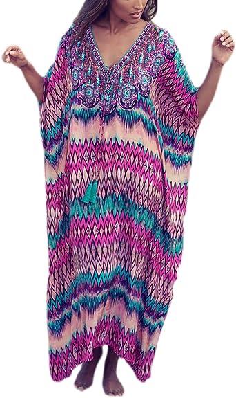 LADIES NEW SUMMER 100/% COTTON LONG KAFTAN BEACH DRESS SKY PLUS SIZE 16-20 FIT