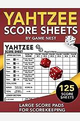 "Yahtzee Score Sheets: 125 Large Score Pads for Scorekeeping | 8.5"" x 11"" Yahtzee Score Cards Paperback"