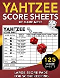 "Yahtzee Score Sheets: 125 Large Score Pads for Scorekeeping | 8.5"" x 11"" Yahtzee Score Cards"