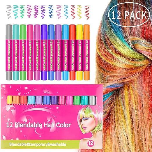 12 tizas para el cabello, no tóxico, color sin ensuciar para ...