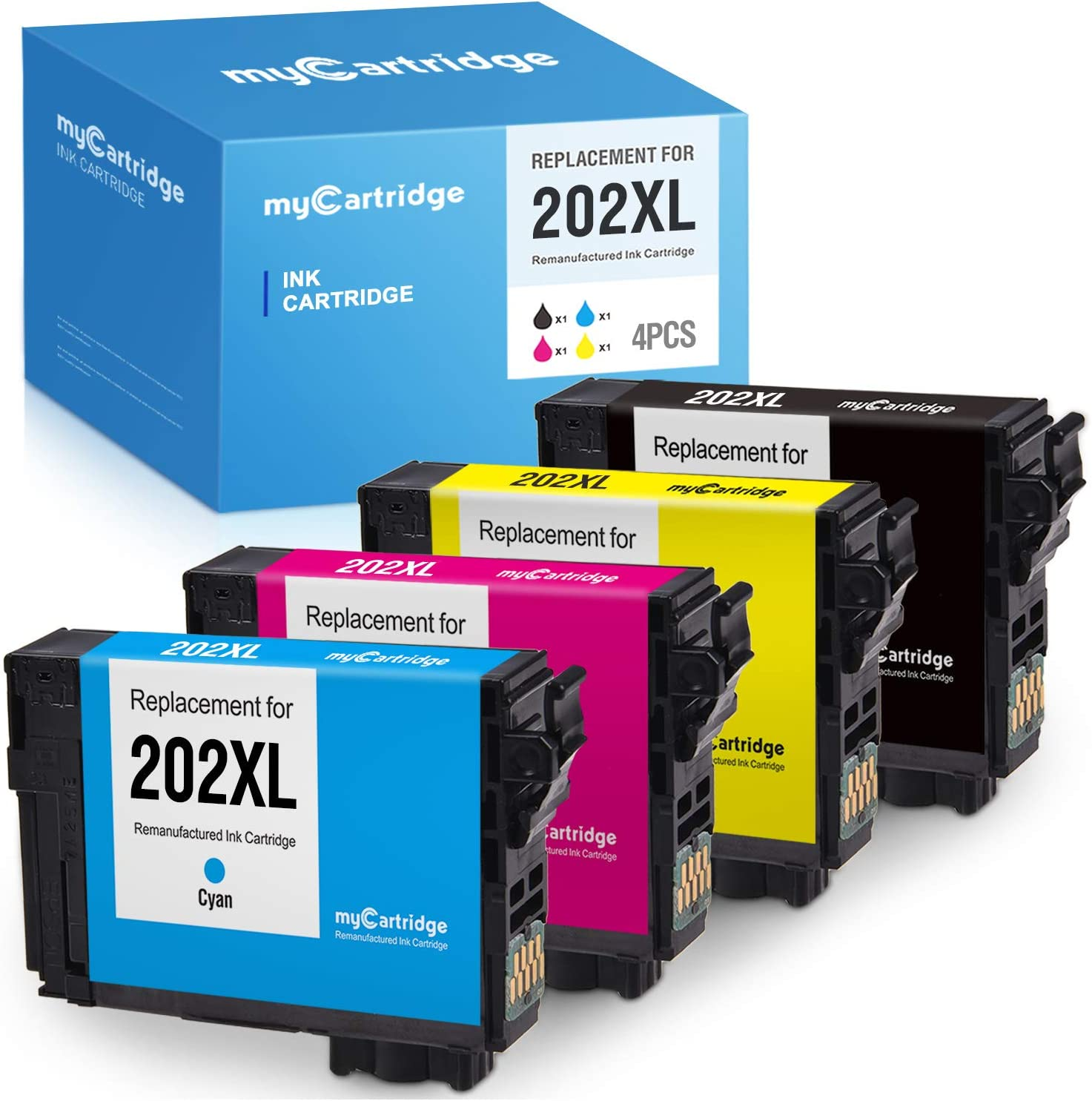MYCARTRIDGE Remanufactured Ink Cartridge Replacement for Epson 202XL 202 use with WF-2860 WF2860 XP-5100 XP5100 AIO (Upgraded V1 Black Yellow Cyan Magenta, 4 Pack)