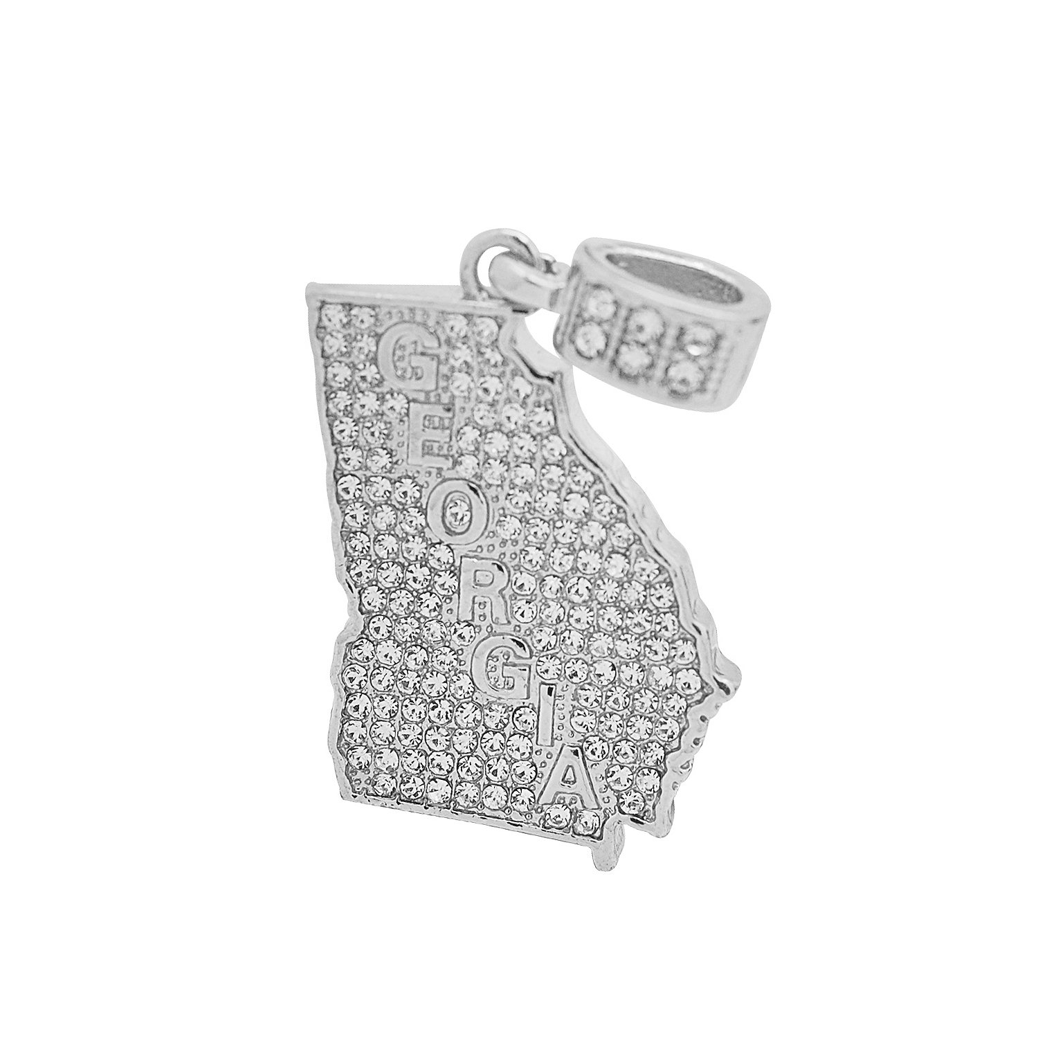 White Gold-Tone Hip Hop Bling Simulated Crystal Peach State Georgia Map Pendant with 18 Tennis Chain and 24 Rope Chain