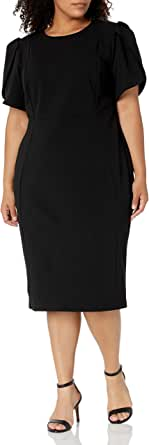 Calvin Klein Women's Plus Size Tulip Sleeved Seamed Sheath