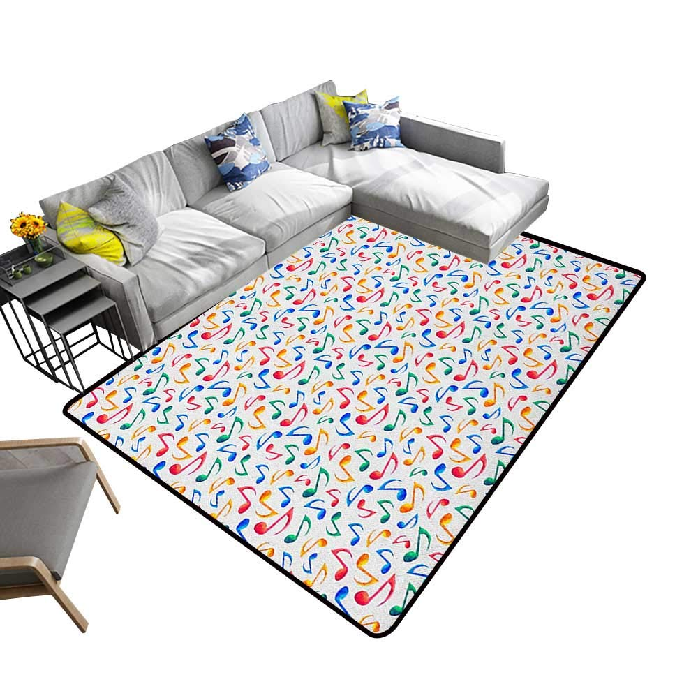 Music Decorative Floor mat Cute Musical Notes Melody Kids Beats Watercolor Radio Rhythm Vibes Artful Design 70''x82'',Can be Used for Floor Decoration