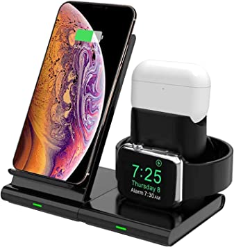 Comprar Hoidokly Cargador Inalámbrico, 3 en 1 Soporte de Carga para iPhone y Apple Watch, Base de Carga Rápida para iWatch 2/3/4/5, AirPods Pro, iPhone SE/11/11 Pro MAX/XS MAX/X(No Cable de Carga del iWatch)