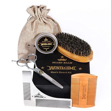 Kit de arreglo de barba, caballeros barba cepillo, peine de barba WONTECHMI, cepillo