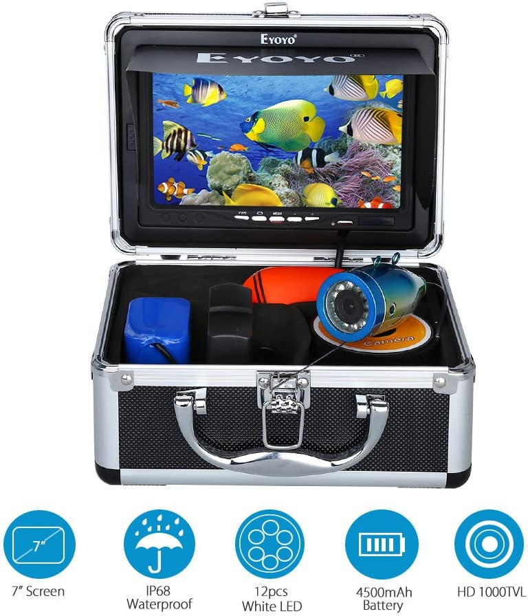 7 Color LCD 600tvl Waterproof 15m Cable 4000mah Rechargeable Battery Fish Finder Underwater Fishing Video Camera with Carry Case