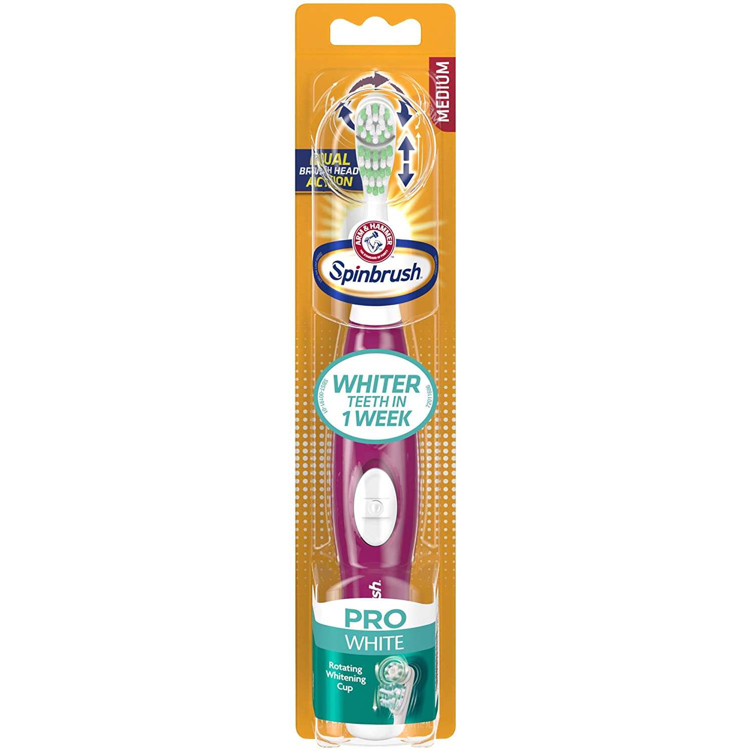 Arm & Hammer Spinbrush Pro Series White Battery Toothbrush, Medium, 1 Count