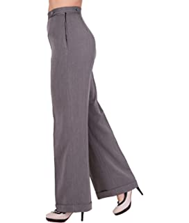 d08962c4 Dancing Days Lady Luck Wide Leg 40s Style Herringbone Trousers - UK ...