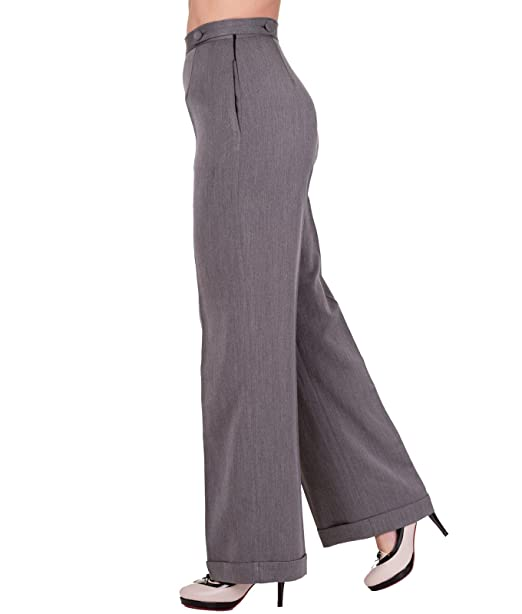 1950s Pants & Jeans- High Waist, Wide Leg, Capri, Pedal Pushers Banned Party On Wide Leg 40s Style Trousers Classic £26.99 AT vintagedancer.com