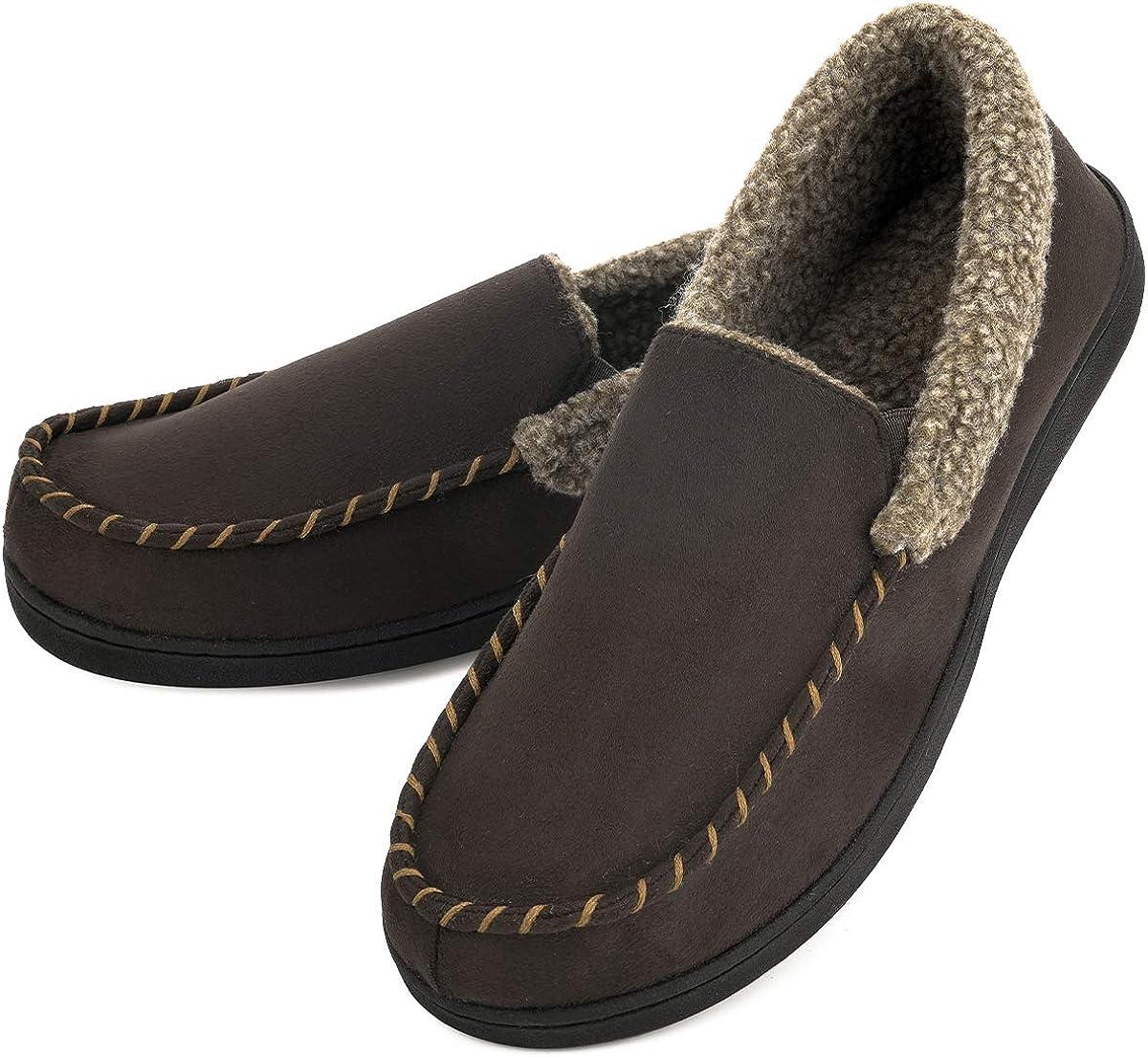 Men's Moccasin Slippers Fuzzy House Shoes Fleece Home Memory Foam Indoor Outdoor