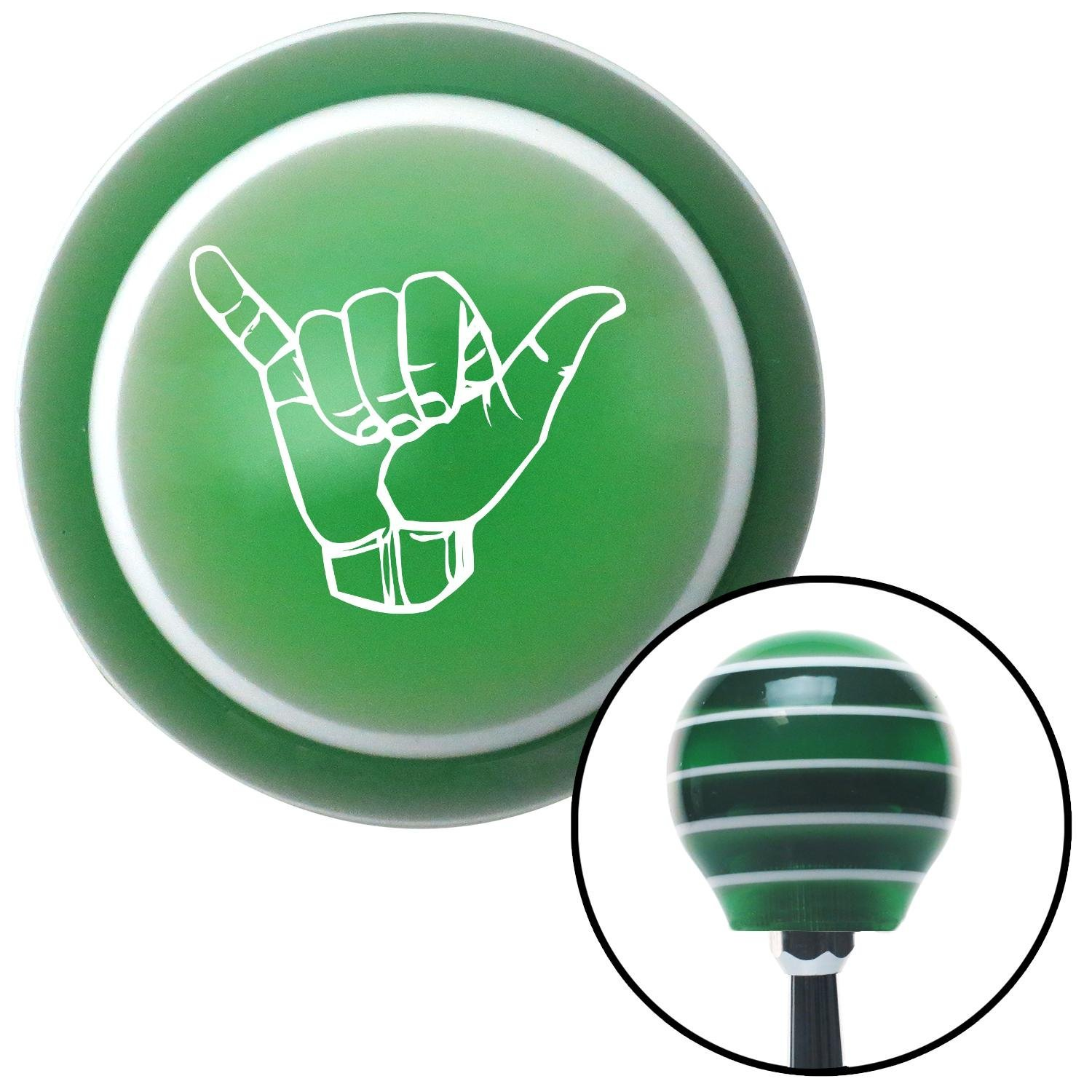 White Hang Loose w//Detailed Hand American Shifter 122824 Green Stripe Shift Knob with M16 x 1.5 Insert