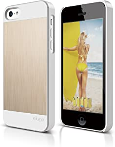 elago S5C Outfit Morph MX Aluminum and Polycarbonate Dual Case for The iPhone 5C - eco Friendly Retail Packaging (White/Gold)