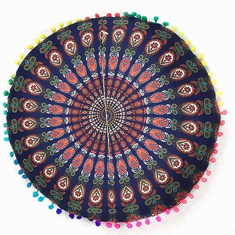 Funda para cojines redondos para el suelo de HKFV con Mandala hindú y diseño bohemio., Pattern F, 43*43cm