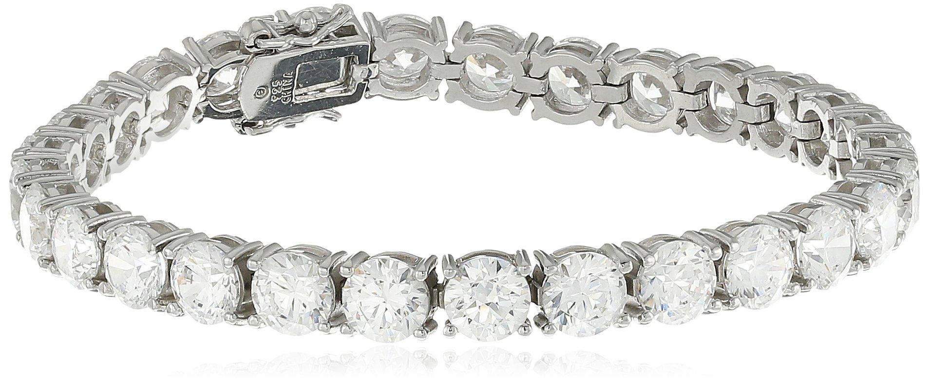 Platinum-plated Sterling Silver Swarovski Zirconia Round-Cut Tennis Bracelet, 7.25''