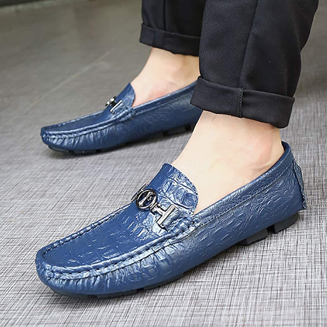 Non-Slip Mzq-yq Leather Peas Shoes Mens England Large Size Driving Shoes Leather Mens Home Outdoor Shock Absorption Wear-Resistant Breathable