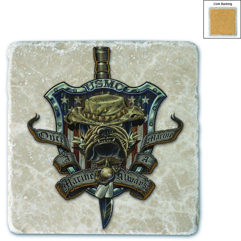 Erazor Bits MM109-MC4BX Once & Always A Marine - Gift Box Natural Stone Coasters, Ivory - Set of 4 Gift Box Set Of 4  B018MYYVO6