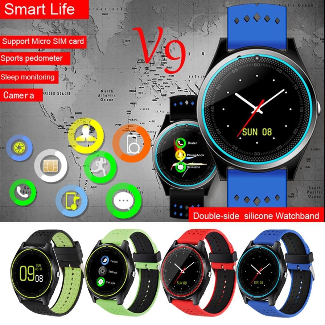 Multifuncional elegante reloj inteligente, Y56 V9 Bluetooth 4.0 0,3 m cámara muñeca llamada Smart reloj inteligente banda podómetro mate (negro): Amazon.es: ...