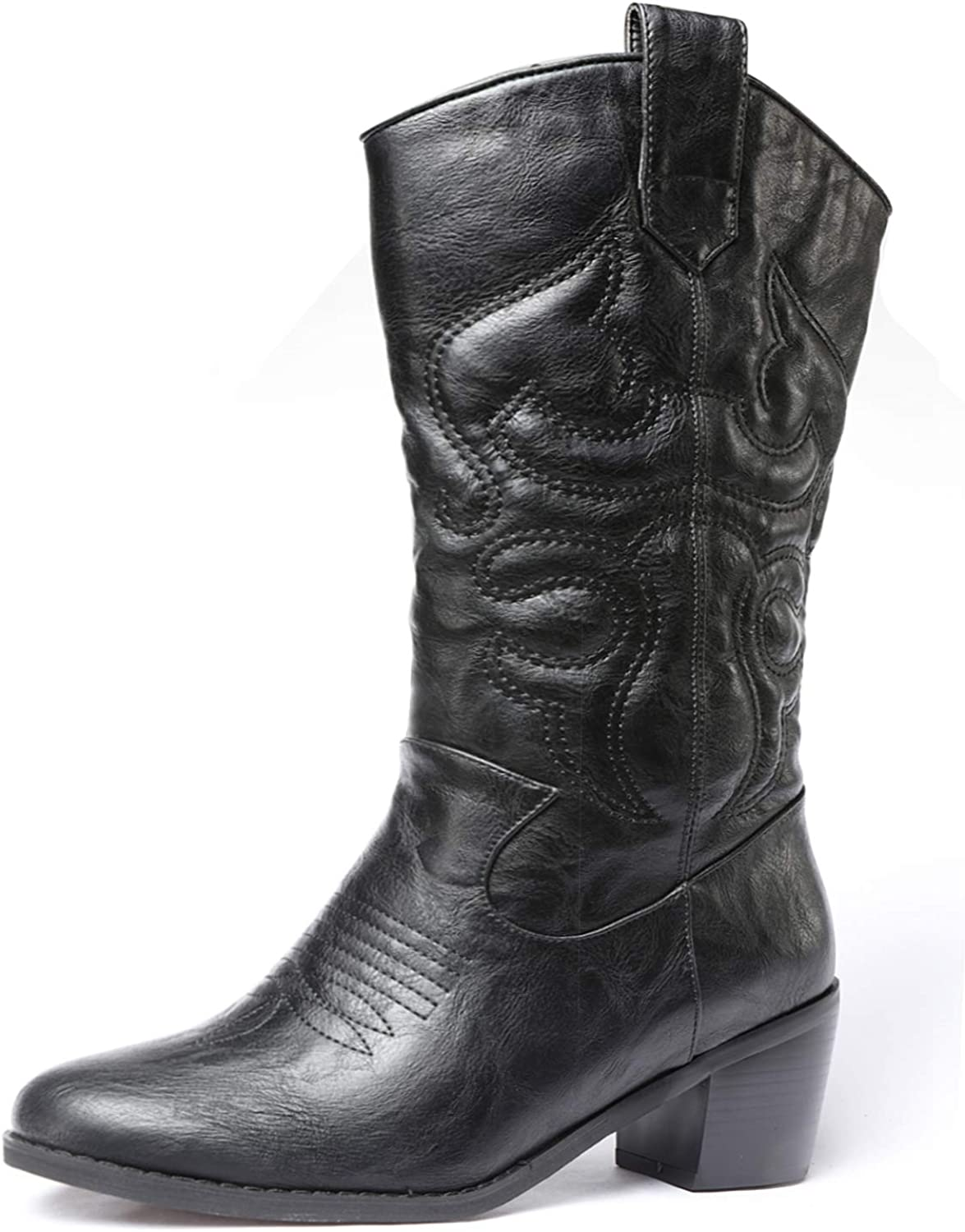 Odema Women's Velvet Cowboy Cowgirl Boots Chunky Heel Rodeo Boots Mid Shaft Country Boot
