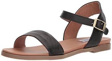 6f4a535253a Steve Madden Women s DINA Flat Sandal Black Leather 5 ...