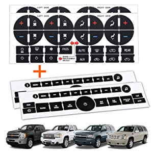 TRADERPLUS 4PCS Replacement AC Control Dash Button Stickers for 2007-2015 GM GMC Denali Acadia Tahoe Chevy Silverado Chevrolet Buick Saturn SUV Truck