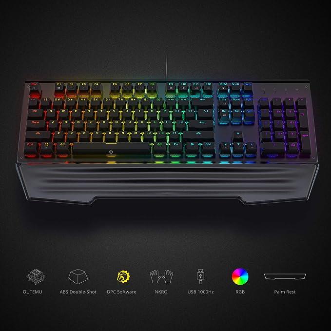 Amazon.com: DREVO Durendal 104-Key Mechanical Gaming Keyboard Full Size - Ergonomic Wrist Rest, Anti-Ghosting, DPC Software, USB Wired, 16.8M RGB Colors, ...