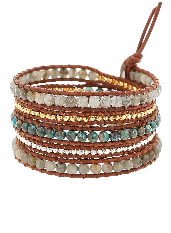 Chan Luu Labradorite Mix On Natural Dark Brown Leather Wrap Bracelet