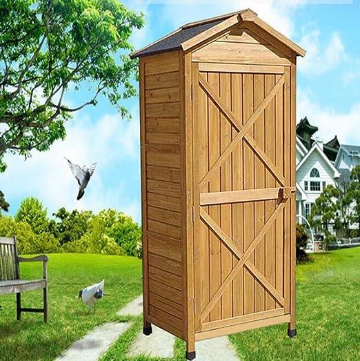 Armarios de jardín para patio, cobertizo de almacenamiento alto para patio trasero al aire libre, caja de cubierta, protector solar Gabinete para desechos anticorrosión Compartimento grande., Marrón, Small: Amazon.es: Jardín