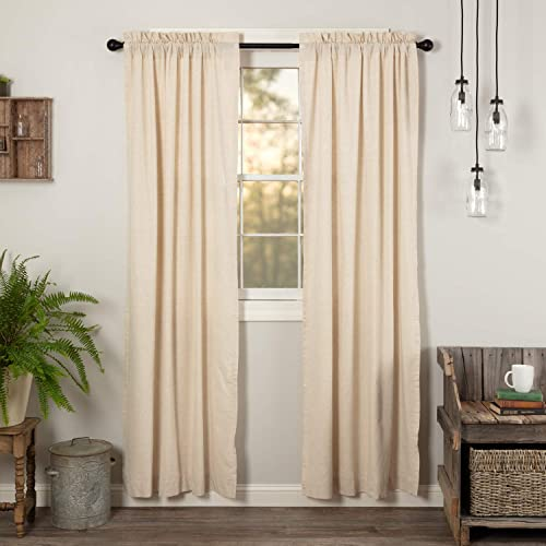 VHC Brands Simple Life Flax Natural Valance, Panel Pair 84×40