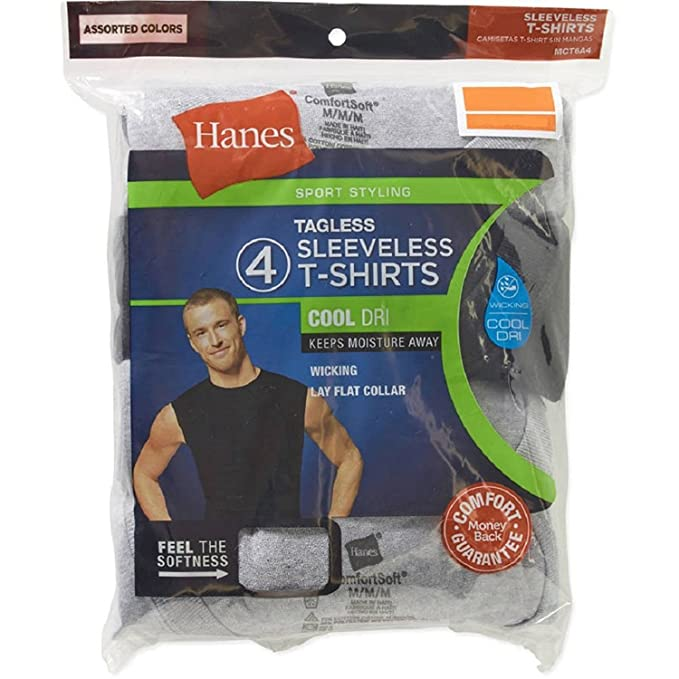Hanesbrand Inc. Hanes Mens Sport Styling Cotton Sleeveless T-Shirts w/Cool Dri 4-Pack (Small (34-36