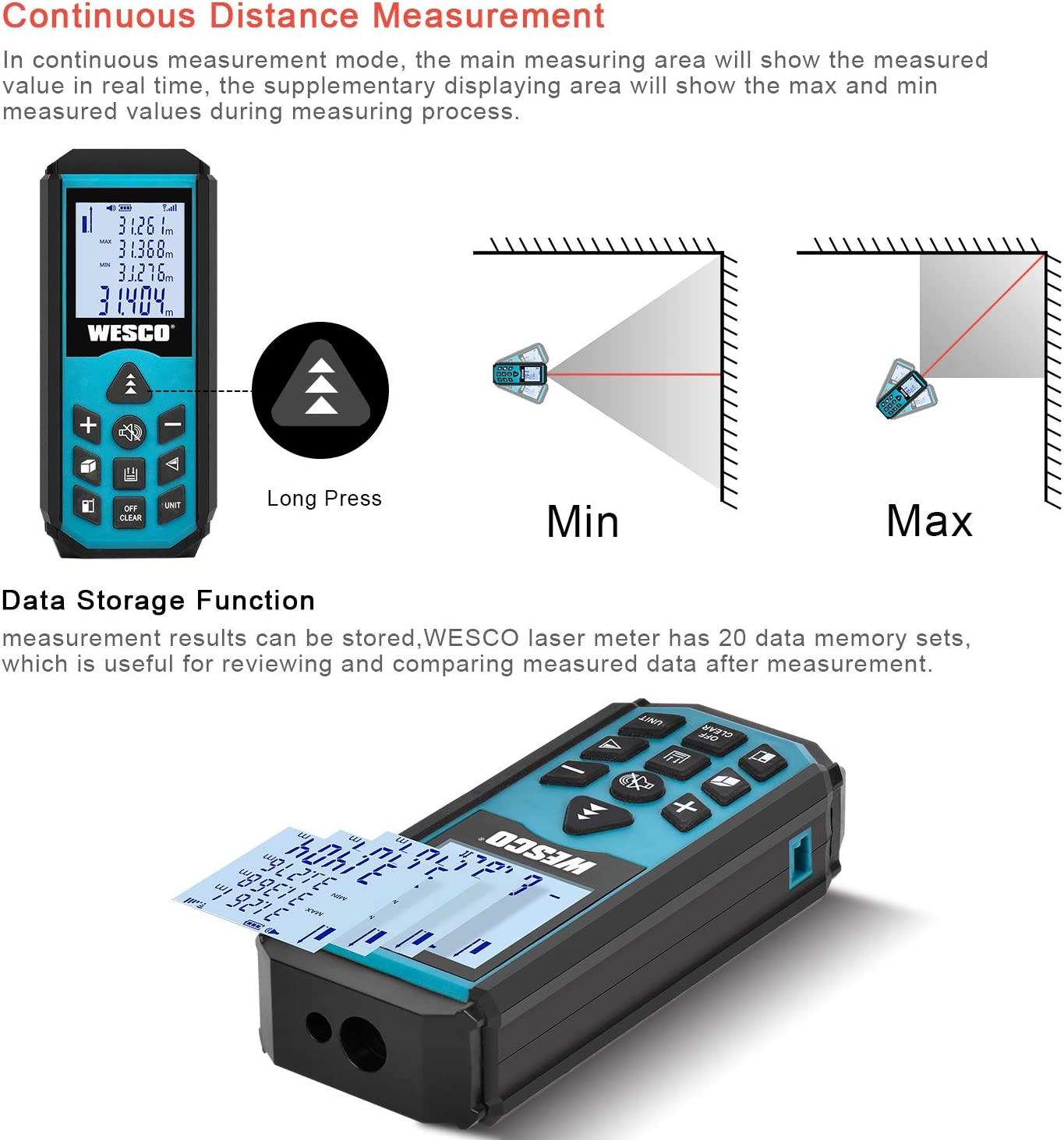 Laser Distance Meter 40M 20 Data Storage Wesco Portable Measure Tool Measuring Unit M//in//Ft Backlit LCD Automatic Calculation of Area//Volume//Pythagorean// WS8910 Accuracy /± 1.5mm