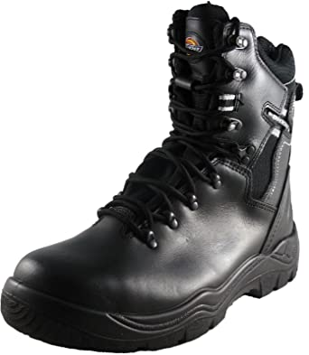Dickies Quebec Super Safety LINED Boot Steel Toe Cap & Mid Sole BLACK  EN20345 S1-