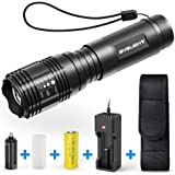 BYBLIGHT 800-Lumen Tactical LED Flashlight, Zoomable 5 Modes Water Resistant Torch with Rechargeable 26650 Battery, USB Charger and Holster, Ideal for Outdoors, Home, Emergency or Gift-Giving