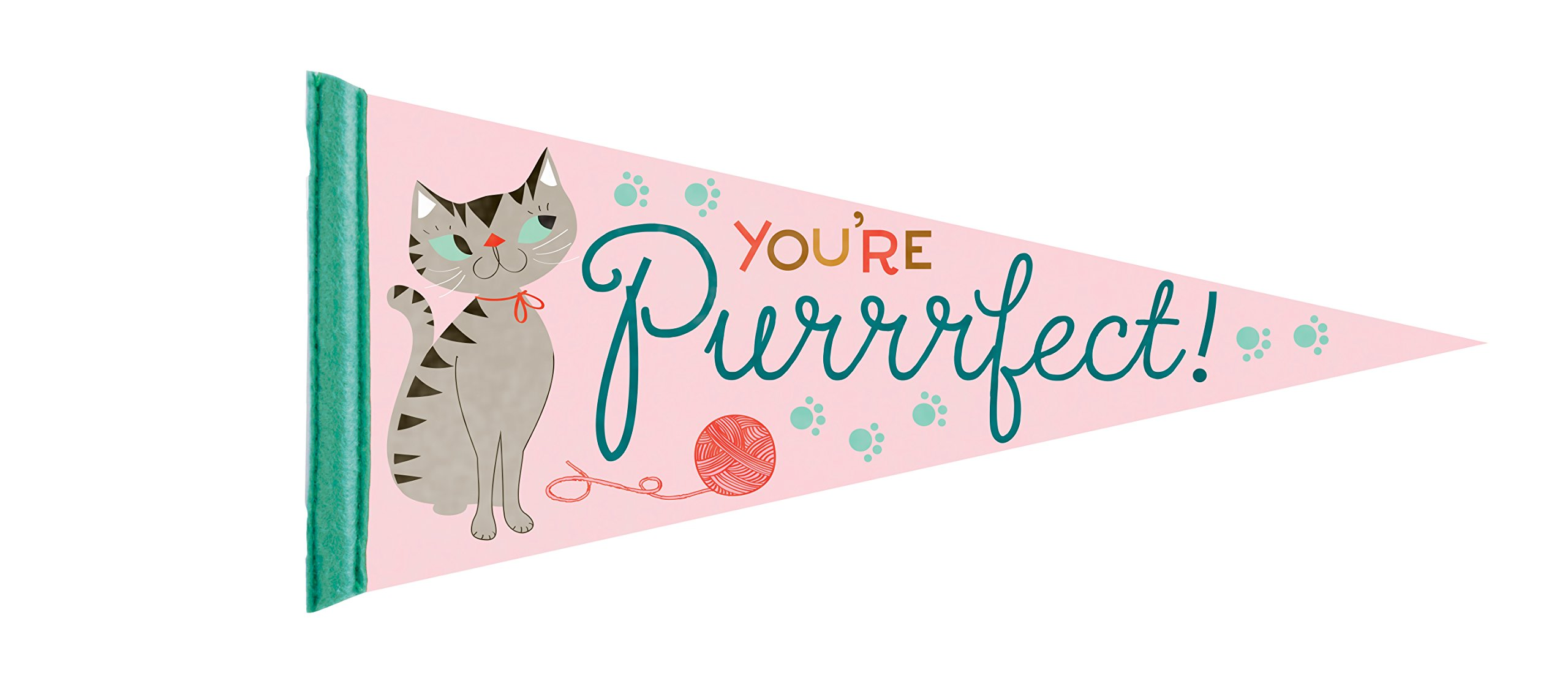 Party Partners You're Purrrfect! Decorative Large Felt Pennant, Pink