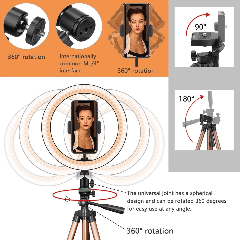 Transmisi/ón en vivo y YouTube PEYOU Anillo de luz con tr/ípode,soporte para tel/éfono y control remoto,3 modos de iluminaci/ón y 10 niveles de brillo para Autofoto 10 pulgadas