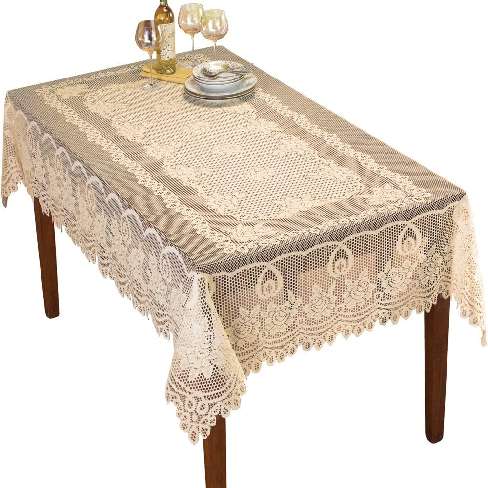 "Collections Etc Crochet Lace Floral Tablecloth for Dining Room Accent or Layering Linens, Cream, 60"" X 90"""