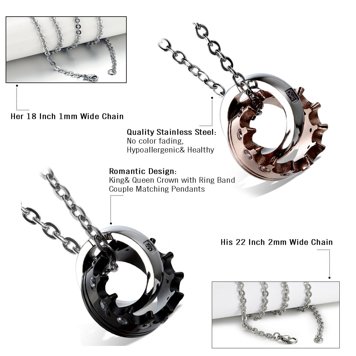 6653c0f2e Cupimatch 2Pieces Stainelss Steel Queen King Crown Ring CZ Valentine Pendant  Couple Necklace with 18