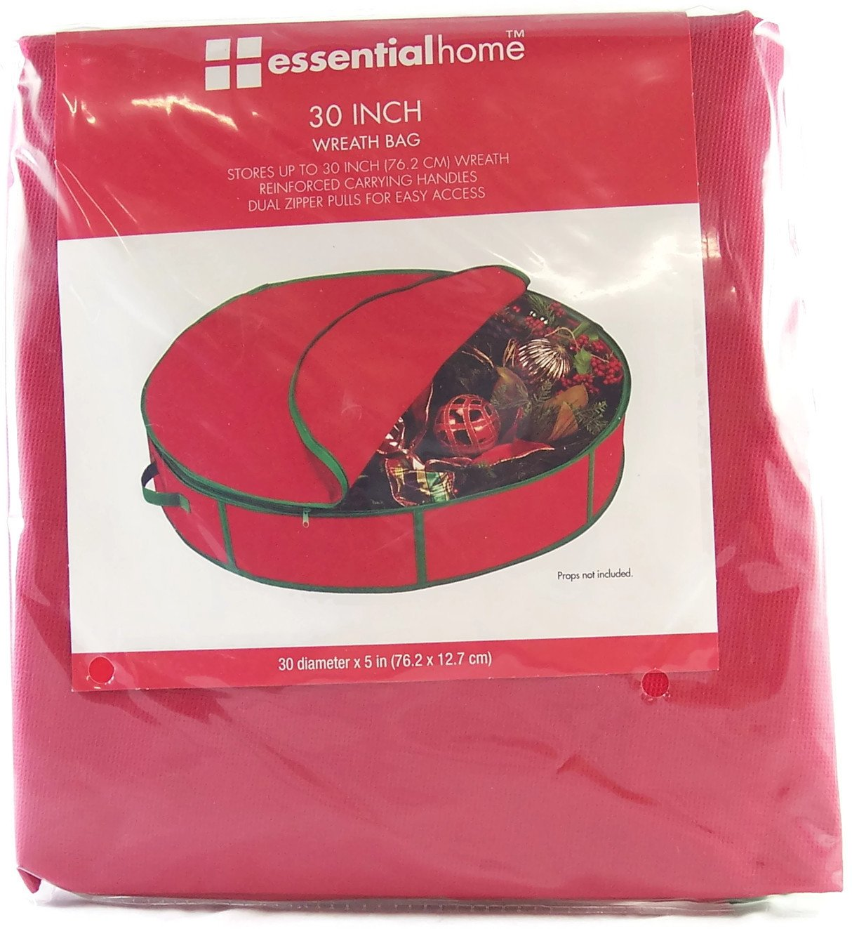 Essentialhome Wreath Storage Bag 30'' Diameter X 5'' Tall with Zipper and Carrying Handle- Red.