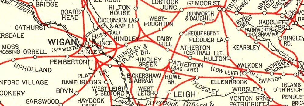 LANCASHIRE:Cheshire Yorkshire: Map showing Railway Communications 1935 Antiqua Print Gallery