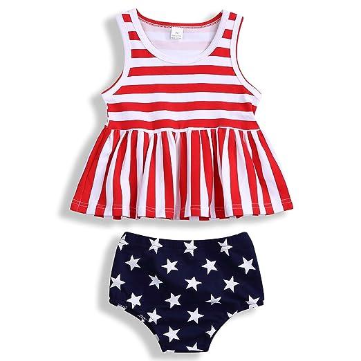 711296b2b Newborn Baby Girls 4th of July Dress Outfit Sleeveless Striped Ruffle Dress  Top+Star Shorts Pants Clothes Set
