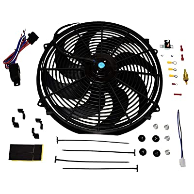 "A-Team Performance 180081 Radiator Electric Cooling Fan 16inch Heavy Duty 12V Wide Curved 16"" 8 Blades Thermostat Kit 3000 CFM Reversible Push or Pull with Mounting Kit: Automotive"