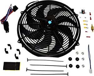 "A-Team Performance 180081 Radiator Electric Cooling Fan 16inch Heavy Duty 12V Wide Curved 16"" 8 Blades Thermostat Kit 3000 CFM Reversible Push or Pull with Mounting Kit"