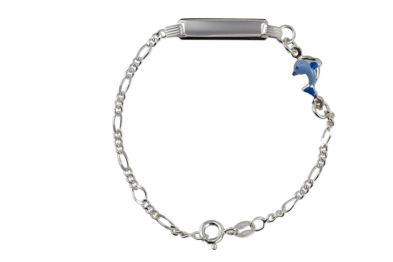 AKA Bijoux - Bracelet d'Identification Enfants Argent 925 avec Dauphin Émaillé Bleu, Cadeau Fantaisie Garçon AKA Gioielli BRA16797-D